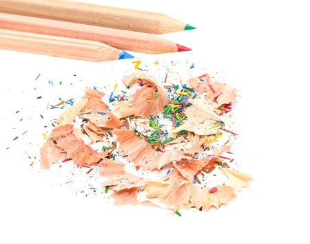 Pencil and shavings isolated on a white background