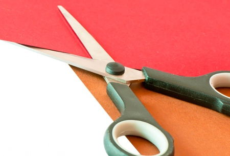 Colorful paper with child s scissors  Stock fotó
