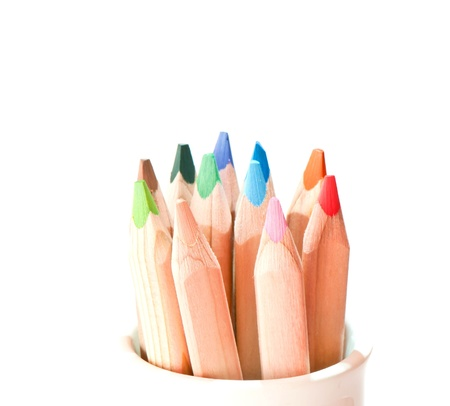 Colour pencils isolated on white background close up Stock fotó