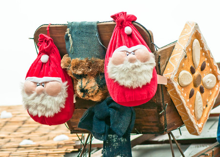 Two santa decoration in Christmas Markt  Stock Photo