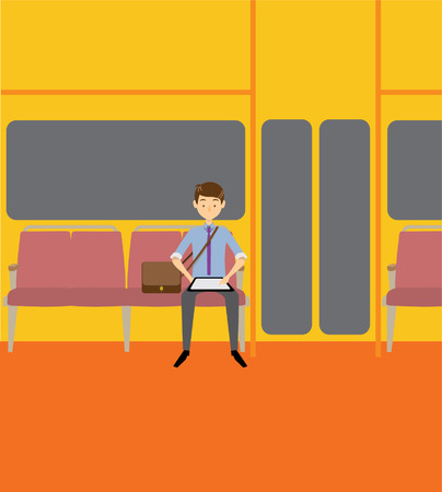 tablet: Subway guy with tablet Illustration