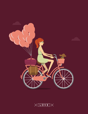 slim girl: girl on a bike Illustration