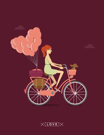 young girl: girl on a bike Illustration