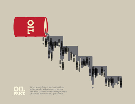 tumble down: Oil spilling from an oil barrel depicting a downward fall oil price.
