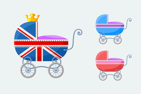Small vector set with baby-carriages with special stroller for royal baby from England  on occasion of the birth of the royal heir in the summer of 2013