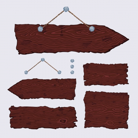 Set of blank wooden signs and singposts with nails and string  The vector is made with no transparencies and gradients