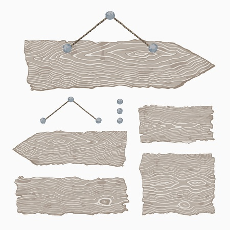Set of blank light gray wooden signs and singposts with nails and string  The vector is made with no transparencies and gradients