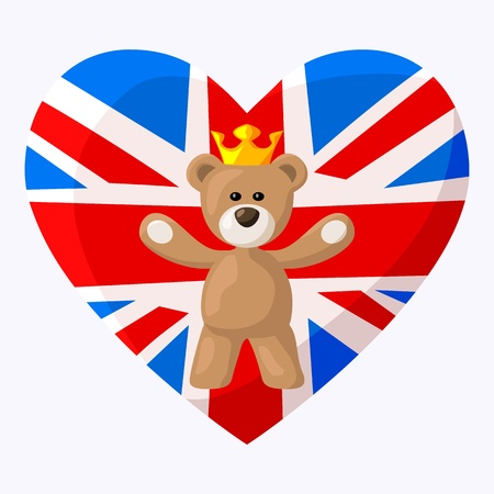Teddy Bear with crown and heart with British flag on the background  on occasion of the birth of the royal heir in the summer of 2013