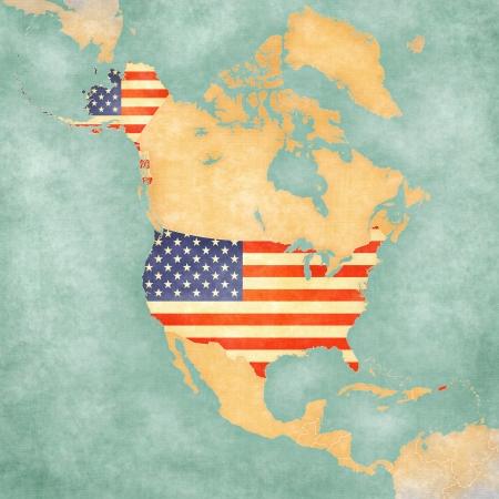 북미지도의 개요지도에 미국 미국 국기지도가 그려진 수채화 역할을하는 소프트 그런 지와 빈티지 분위기를 가지고 빈티지 여름 스타일과 맑은 기분