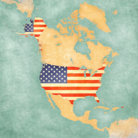 USA  American flag  on the outline map of North America  The Map is in vintage summer style and sunny mood  The map has a soft grunge and vintage atmosphere, which acts as a painted watercolors   photo