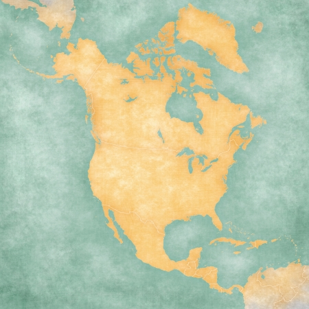 Blank outline map of North America  The Map is in vintage summer style and sunny mood  The map has a soft grunge and vintage atmosphere, which acts as a painted watercolors