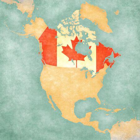 캐나다 북아메리카의 개요지도에 캐나다 플래그지도는 빈티지 여름 스타일과 맑은 분위기지도에는 페인트 수채화 물의 역할을 소프트 그런 지와 빈티