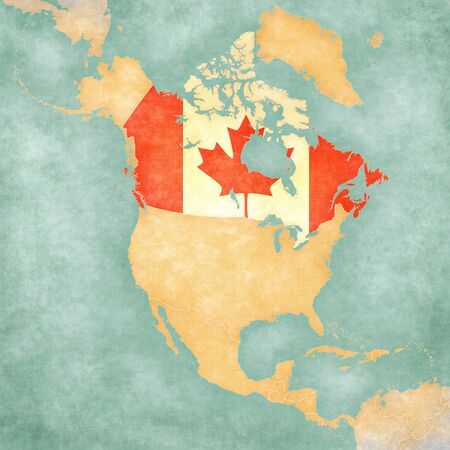 Canada  Canadian flag  on the outline map of North America  The Map is in vintage summer style and sunny mood  The map has a soft grunge and vintage atmosphere, which acts as a painted watercolors