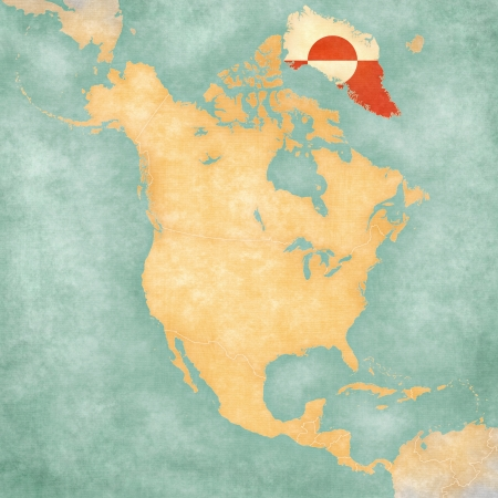Greenland  flag  on the outline map of North America  The Map is in vintage summer style and sunny mood  The map has a soft grunge and vintage atmosphere, which acts as a painted watercolors
