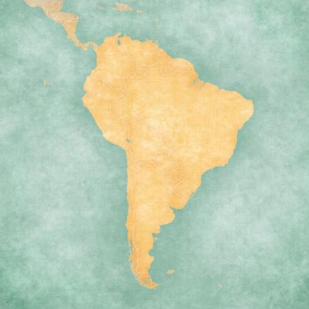 south america: Blank esquema del mapa de Am�rica del Sur en el mapa en el verano de estilo de �poca y ambiente soleado El mapa tiene un grunge suave y un ambiente de �poca, que act�a como una pintura de acuarela