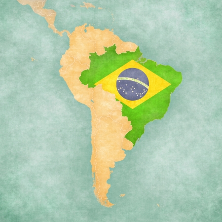 Brazil  Brazilian flag  on the map of South America  The Map is in vintage summer style and sunny mood  The map has a soft grunge and vintage atmosphere, which acts as a watercolor painting   Stock Photo