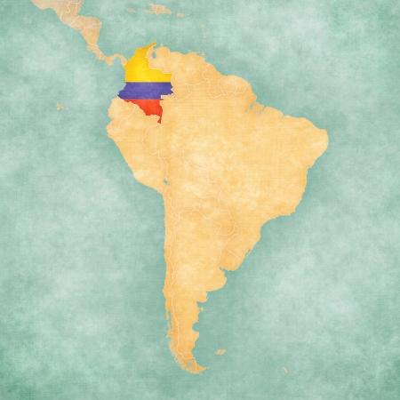 남미지도의지도에 콜롬비아 콜롬비아 플래그 빈티지 여름 스타일과지도는 수채화 역할을하는 소프트 그런 지와 빈티지 분위기를 보유하고 맑은 기분