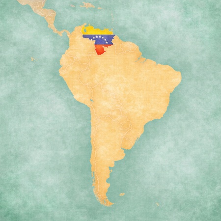 Venezuela  Venezuelan flag  on the map of South America  The Map is in vintage summer style and sunny mood  The map has a soft grunge and vintage atmosphere, which acts as a watercolor painting   Stock Photo
