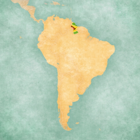 Guyana  Guyanese flag  on the map of South America  The Map is in vintage summer style and sunny mood  The map has a soft grunge and vintage atmosphere, which acts as a watercolor painting