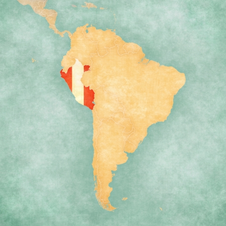 Peru  Peruvian flag  on the map of South America  The Map is in vintage summer style and sunny mood  The map has a soft grunge and vintage atmosphere, which acts as a watercolor painting