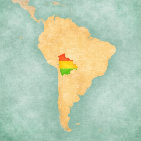 Bolivia  Bolivian flag  on the map of South America  The Map is in vintage summer style and sunny mood  The map has a soft grunge and vintage atmosphere, which acts as a watercolor painting   photo