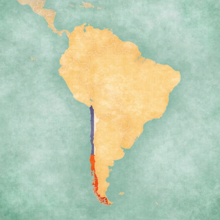 Chile  Chilean flag  on the map of South America  The Map is in vintage summer style and sunny mood  The map has a soft grunge and vintage atmosphere, which acts as a watercolor painting   photo
