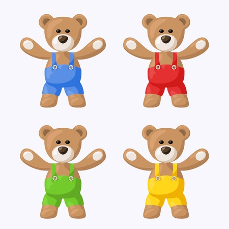 Small pack with teddy bears with colored pants