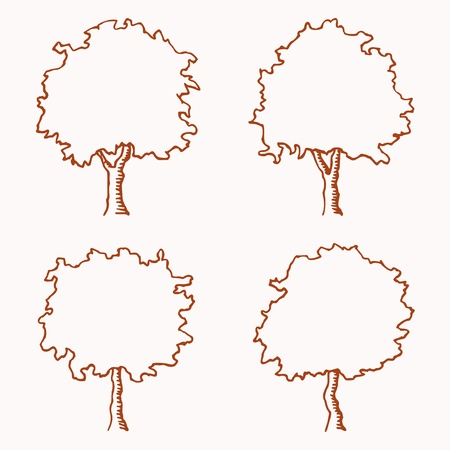 Four outlines of trees  Image is hand drawn  Trees are suitable for architectural drawings