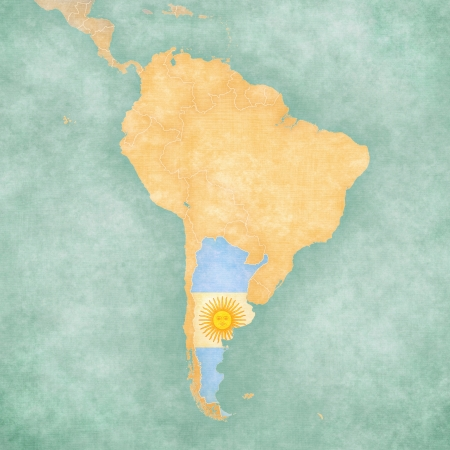 Argentina  Argentine flag  on the map of South America  The Map is in vintage summer style and sunny mood  The map has a soft grunge and vintage atmosphere, which acts as a watercolor painting   Stock Photo
