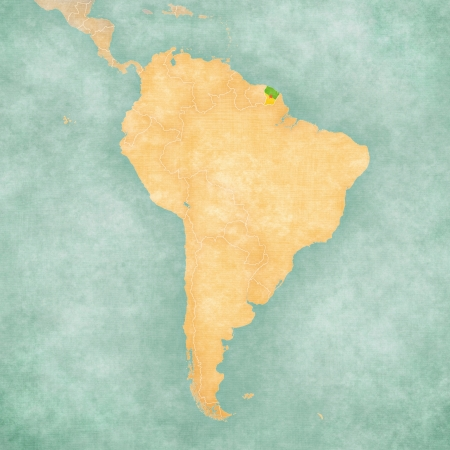 French Guiana  Flag of the department  on the map of South America  The Map is in vintage summer style and sunny mood  The map has a soft grunge and vintage atmosphere, which acts as a watercolor painting   Stock Photo