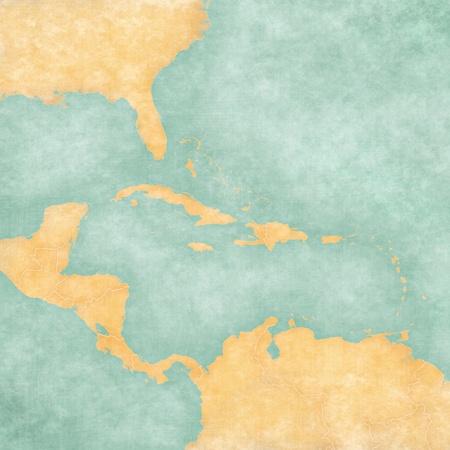 카리브해 및 중앙 아메리카지도의 빈지도 빈티지 여름 스타일과지도는 수채화 역할을하는 소프트 그런 지와 빈티지 분위기를 가지고 맑은 기분입니다 스톡 콘텐츠
