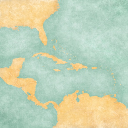 Blank map of Caribbean and Central America  The Map is in vintage summer style and sunny mood  The map has a soft grunge and vintage atmosphere, which acts as a watercolor painting