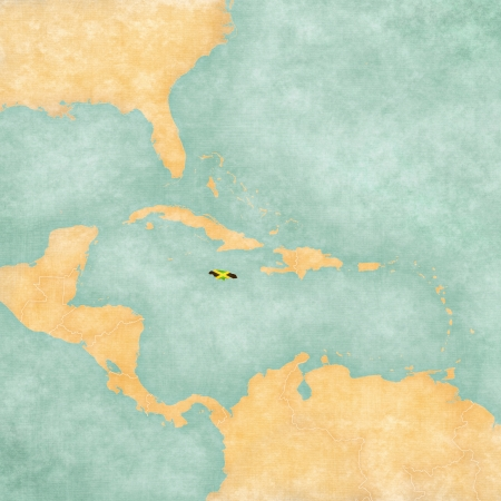 Jamaica  Jamaican flag  on the map of Caribbean and Central America  The Map is in vintage summer style and sunny mood  The map has a soft grunge and vintage atmosphere, which acts as a watercolor painting