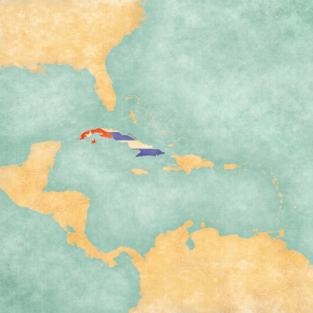 Cuba  Cuban flag  on the map of Caribbean and Central America  The Map is in vintage summer style and sunny mood  The map has a soft grunge and vintage atmosphere, which acts as a watercolor painting