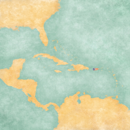 Puerto Rico  Puerto Rican flag  on the map of Caribbean and Central America  The Map is in vintage summer style and sunny mood  The map has a soft grunge and vintage atmosphere, which acts as a watercolor painting