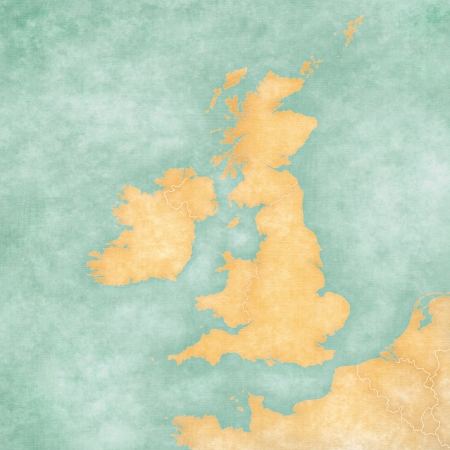 has: Blank map of British Isles  The Map is in vintage summer style and sunny mood  The map has a soft grunge and vintage atmosphere, which acts as a watercolor painting