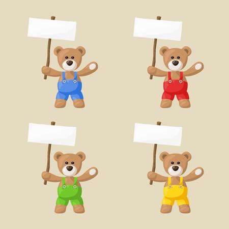 테디 작은 패키지는 색 바지와 흰색 기호 파일이 없음 투명도 및 그라디언트로 만들어져와 곰