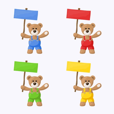 Small package with teddy bears with colored pants and colored signs  The file is made with no transparencies and gradients