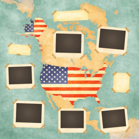 지도에서 미국의 빈티지지도와 배경에 빈티지 사진 프레임 국가 테두리에 그려진 미국 국기입니다 스톡 콘텐츠