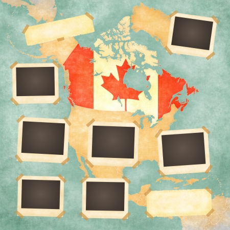 canadian flag: Vintage photo frames on the background with the vintage map of Canada  On the map is Canadian flag painted in the country borders
