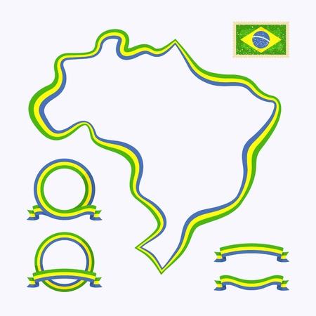 브라질 국경의 개요지도는 국가 색으로 리본으로 표시되어 있습니다. 패키지에는 국기와 프레임이있는 스탬프가 포함되어 있습니다. 파일은 투명 필
