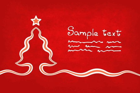 Christmas card with christmas tree and star on the red background. Tree is created with a ribbon. The file is made with no transparencies and gradients.