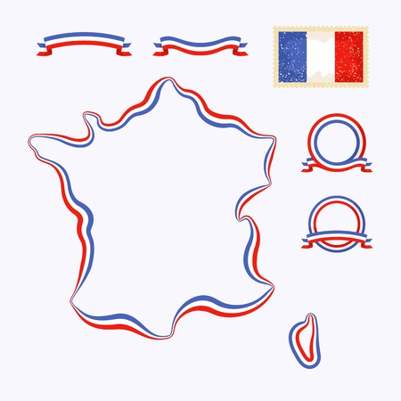 Outline map of France  Border is marked with a ribbon in the national colors   Vector