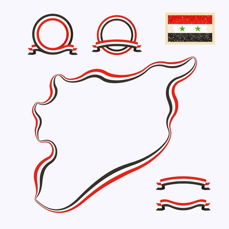 Outline map of Syria  Border is marked with a ribbon in the national colors Stock Vector - 22062851