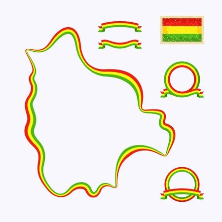 bandera bolivia: Esquema del mapa de Bolivia frontera est� marcada con una cinta con los colores nacionales