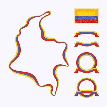 bandera de colombia: Esquema del mapa de Colombia Frontera está marcado con una cinta con los colores nacionales