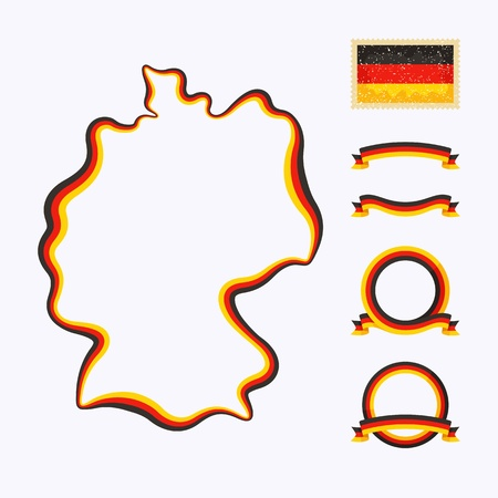 Outline map of Germany  Border is marked with a ribbon in the national colors Stock Vector - 22062849