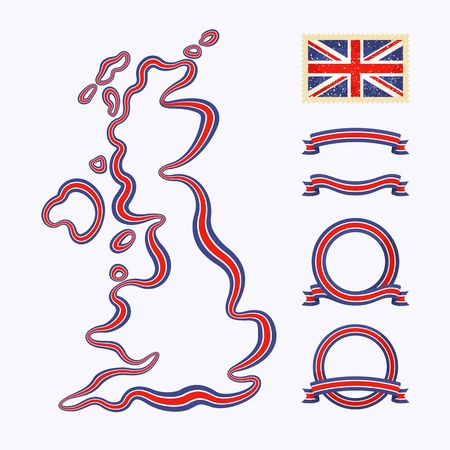 Outline map of United Kingdom  Border is marked with a ribbon in the national colors  Vector