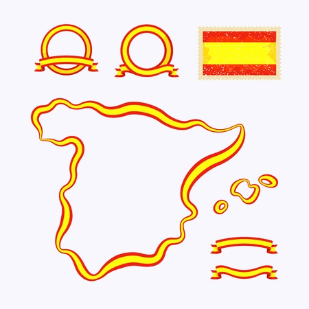 Outline map of Spain  Border is marked with a ribbon in the national colors  Stock Vector - 22062866