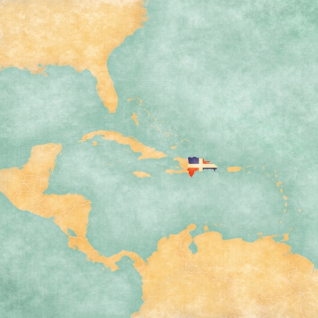 Dominican Republic  Dominican flag  on the map of Caribbean and Central America